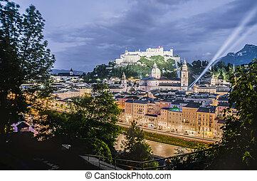"Hohensalzburg Castle (Festung Hohensalzburg) literally ""High Salzburg Fortress"" at Salzburg, Austria"
