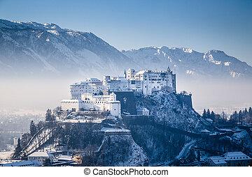 Hohensalzburg Fortress in winter, Salzburg, Austria