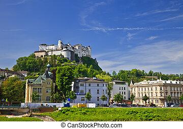 Hohensalzburg Fortress, Salzburg, Austria - Veiw on...