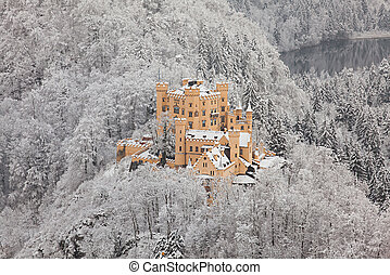 Hohenschwangau Castle in winter landscape. Germany