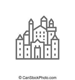 hohenschwangau, neuschwanstein, allemagne, repère, ligne, icon., château