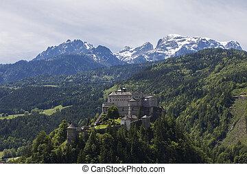 Hohenwerfen Castle above the city of Werfen in Austria
