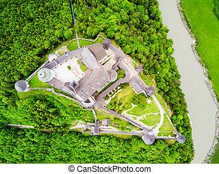 Hohenwerfen Castle aerial view