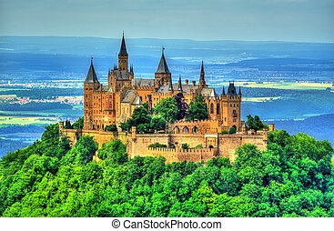 Hohenzollern Castle in the Swabian Alps - Baden-Wurttemberg,...