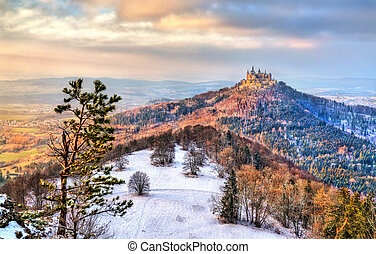hohenzollern, château, allemagne, hiver, vue