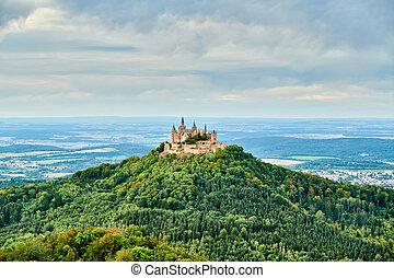 hohenzollern, górski szczyt, niemcy, hilltop, zamek