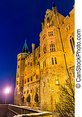 hohenzollern, soir, allemagne, château, vue