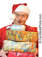 Hohoho! - Man looking a a pile of presents