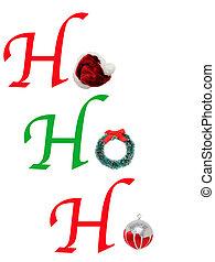 HoHoHo with Christmas Wreath, Santa Hat and ornament