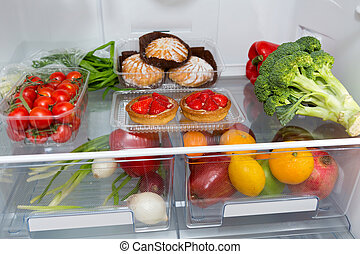 ?hoice of food in the fridge at home