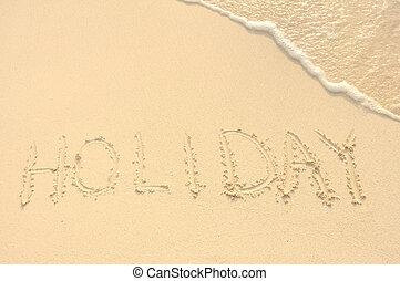 hoilday, escrito, em, areia, ligado, praia