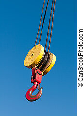 Hoist - A pulley and hook hoist mechanism hanging from a ...