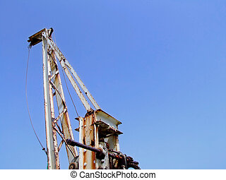 Old quayside hoist crane in Malta, used to lift fish catches off fishing trawlers