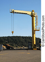 This is a hoist crane used to pic up boats out of the water.