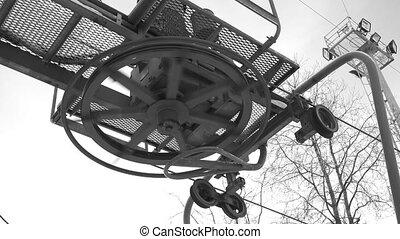 Hoist, Mechanism, chain, gear. 4K. - Hoist, Mechanism,...
