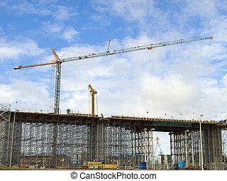 hoist/crane, à, les, pont, buliding, site