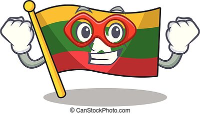 hoisted, cartone animato, bandiera, era, super, polo, eroe, myanmar