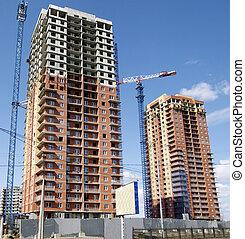 Hoisting crane and house construction