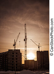 Hoisting cranes and new residential development