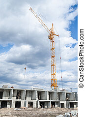 Hoisting tower cranes and construction of new apartments