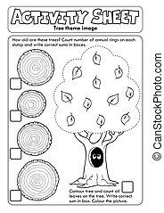 hoja, árbol, actividad, tema, 1