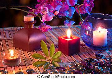 hoja, aceite, velas, popurrí