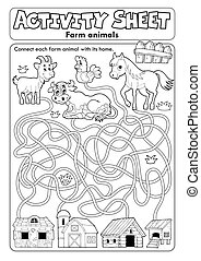 hoja, actividad, animales, granja, 1