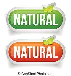 hoja, botón, verde, natural