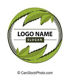 hoja cannabis, verde, logo.