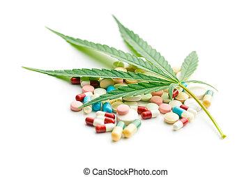hoja cannabis, y, medicaments