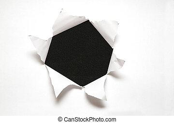 hoja, contra, papel, fondo negro, agujero