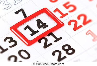 hoja, de, calendario de pared, con, rojo, marca, en, 14, febrero, -, día de valentines