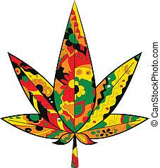 hoja de la marijuana, en, rastafarian, colores