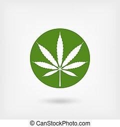 hoja de la marijuana, en, verde, circle., logotipo, símbolo