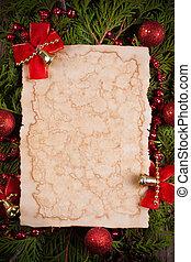 hoja de papel, con, decoración de navidad, en, de madera, plano de fondo
