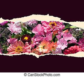 hoja de papel, con, flores