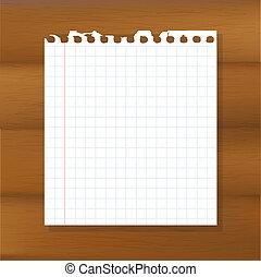 hoja de papel, en, de madera, plano de fondo