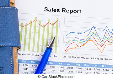 hoja, de, ventas anuales, informe, con, pluma azul
