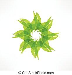 hoja, eco, concept., icons., logotipo, design.