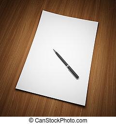hoja en blanco, de, papel, con, pluma