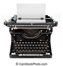 hoja en blanco, en, un, máquina de escribir