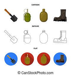 hoja, estilo, conjunto, ejército, caricatura, granada,...