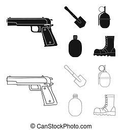 hoja, estilo, conjunto, ejército, granada, iconos, web.,...