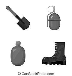 hoja, estilo, conjunto, soldier's, ejército, símbolo,...