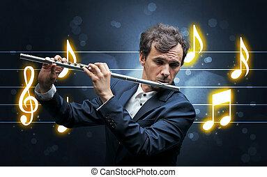 hoja, flautista, joven, música