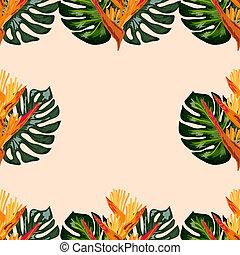 hoja, heliconia, o, patrón, flores, lobster-claws, tropical, plano de fondo, seamless