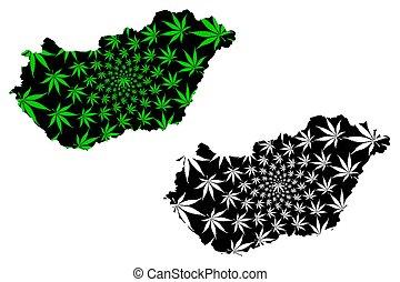 hoja, hungría, cannabis, -, diseñado, mapa