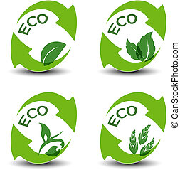 hoja, iconos, eco, naturaleza, -, símbolos