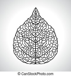 hoja, isolated., macro, ilustración, vector, negro, natural