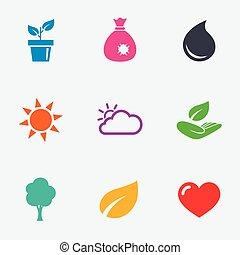 hoja, jardín, brote, icons., tiempo, signs.
